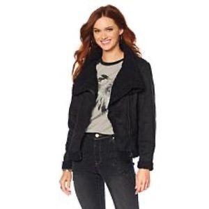 Americana Studded Faux Suede Sherpa jacket-Black